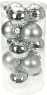 Image of 15 Glass Christmas baubles Mat / Gloss Mix (Colour: silver)