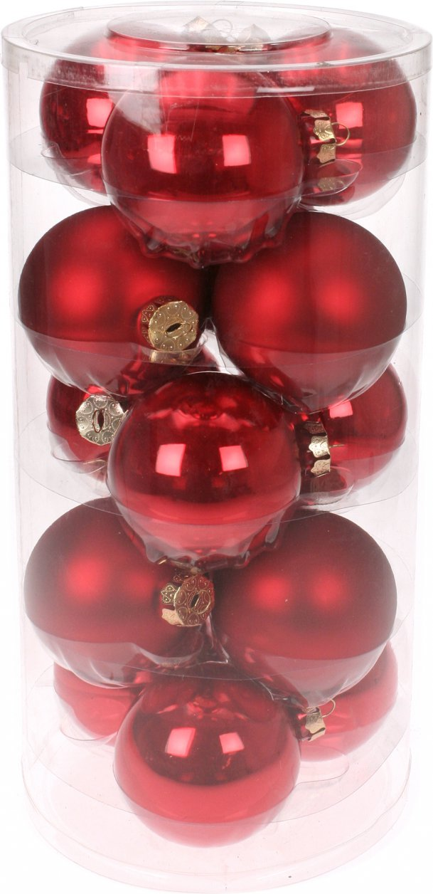 Image of 15 Glass Christmas baubles Mat / Gloss Mix (Colour: red)