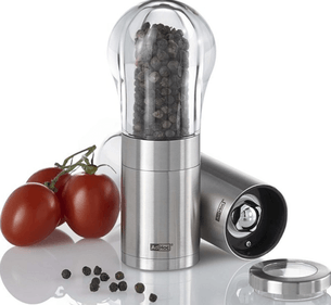 AdHoc Pepper or Salt Mill Eddi - Brushed - Stainless Steel / Acrilat - Ø 6 x 15.5 cm - Silver