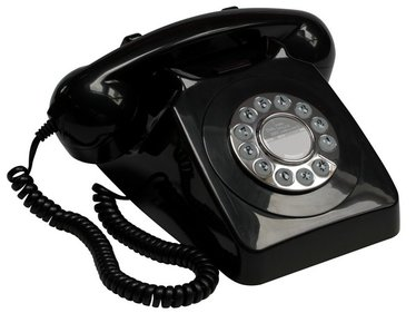GPO 746 Rotary telephone with push button black
