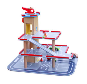 Valetti Wooden Toy Parking Garage with Helicopter Deck
