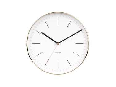Karlsson wandklok Minimal white, shiny gold case