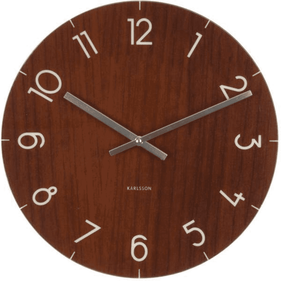 Wall clock Glass Wood medium dark wood