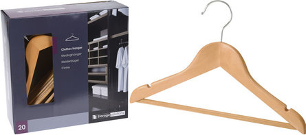 Valetti clothes hangers from wood set of 20 pieces