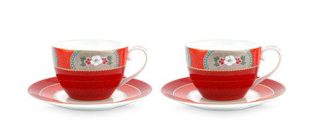 Pip Studio Blushing Birds 280ml cappuccinokop- en schotel - set van 2