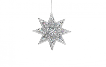 Christmas Star 3D Silver Glitter ornament