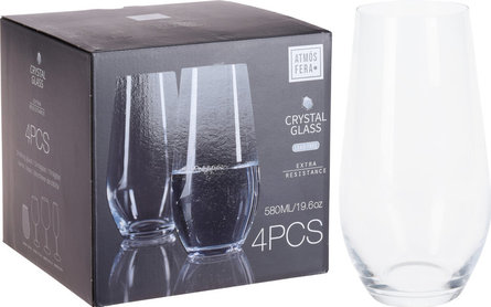 Valetti waterglas kristal 580 ml - set van 4