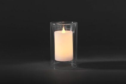 Konstsmide LED wax candle in glass vase