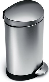 simplehuman Semi-Round Pedal Bin with Fingerprint-Proof Stainless Steel Finish - 10 Litre