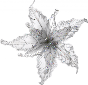 Christmas flower Silver White Glitter