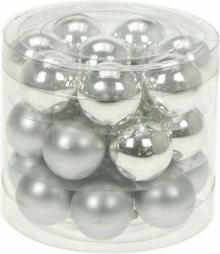 24 Glass Christmas baubles Mat / Gloss Mix