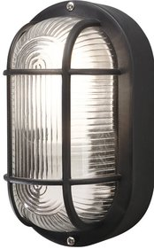 Black Oval Outdoor Bulkhead Light