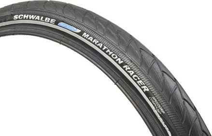 Schwalbe Marathon Racer 700X35C Wired Tyre with Raceguard Reflective S/Wall 420g (35-622) - Black