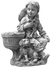 Gardexo Boy With Little Dog Garden Image