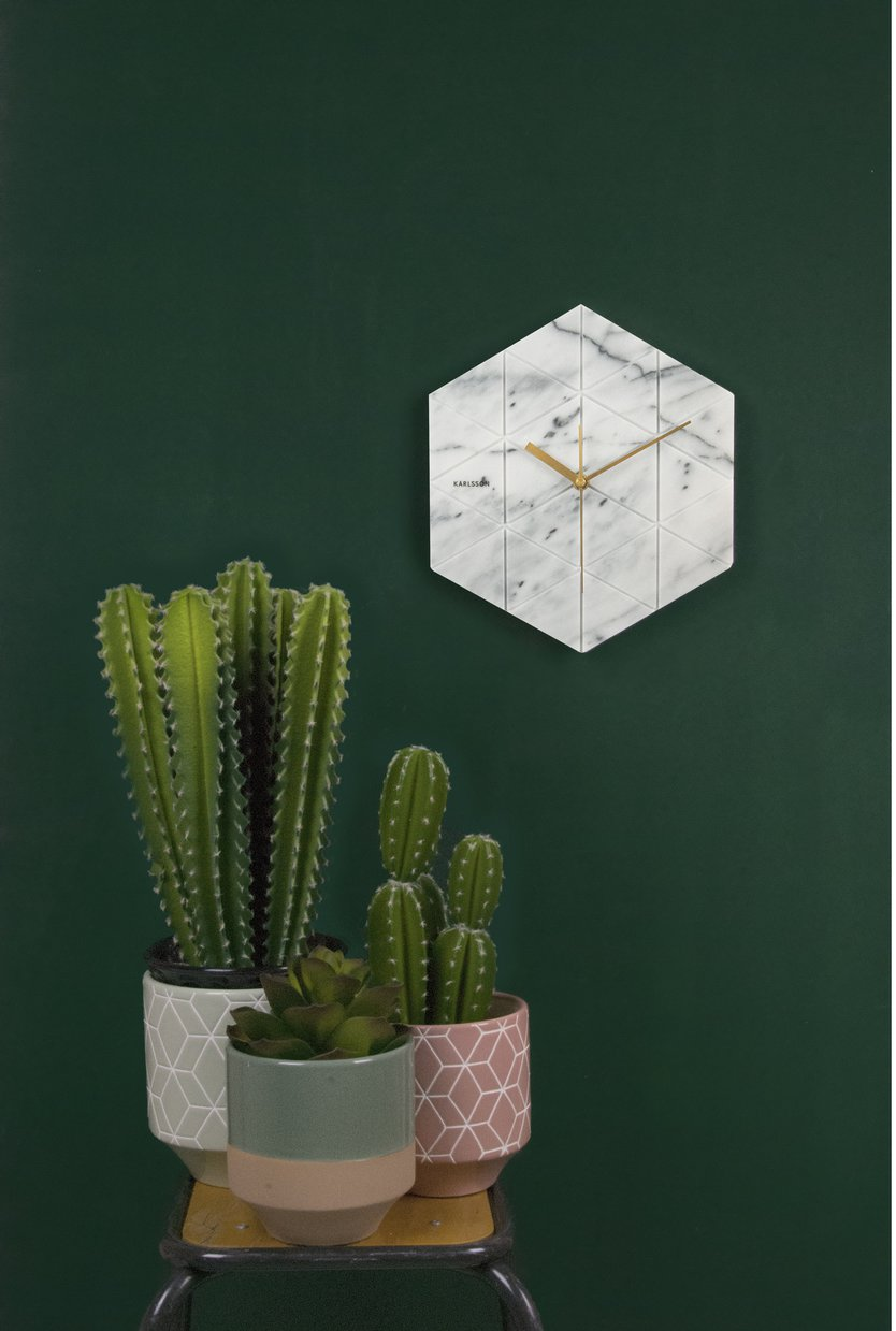 Karlsson Marble Hexagon wandklok