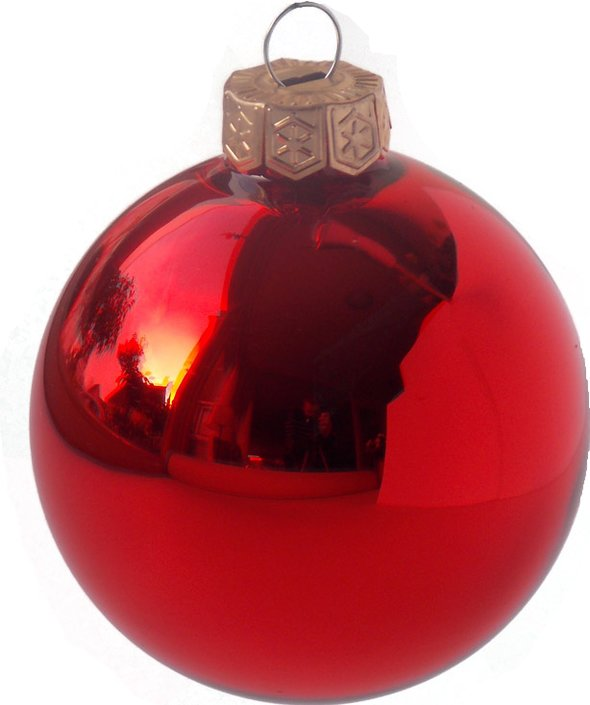 Ten red Christmas baubles