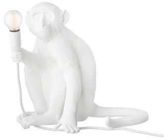Seletti Sitting Monkey White tafellamp