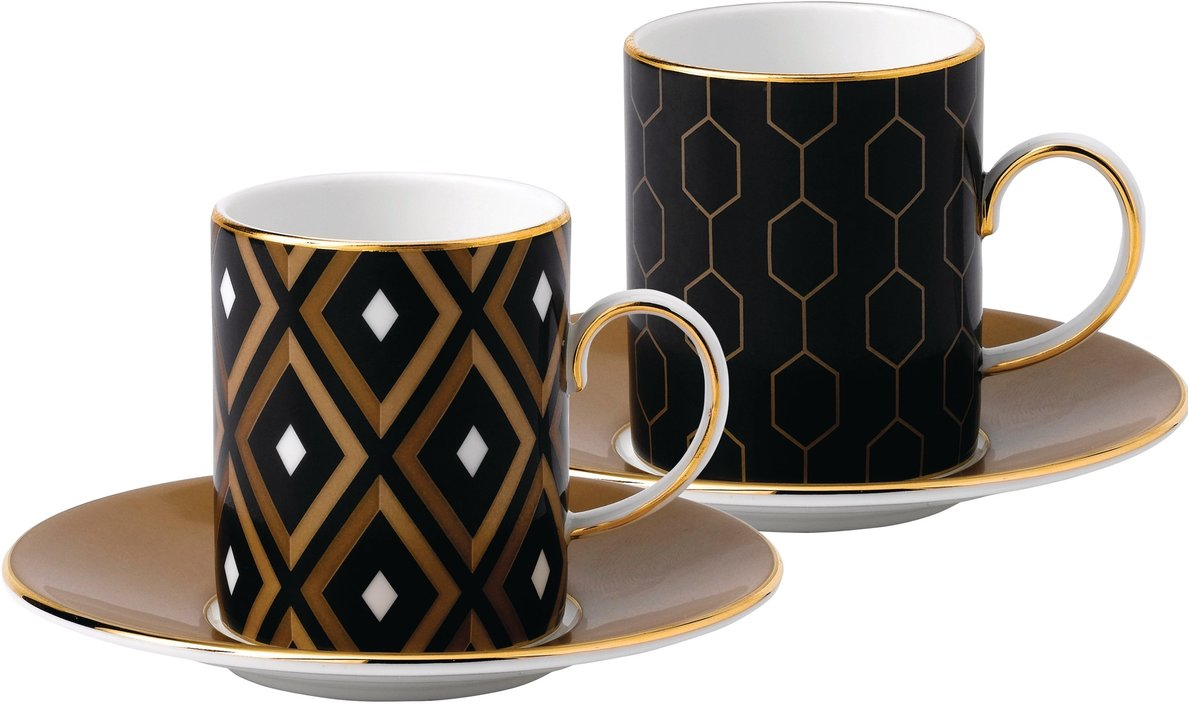 Wedgwood Arris espresso cup and saucer - set of 2