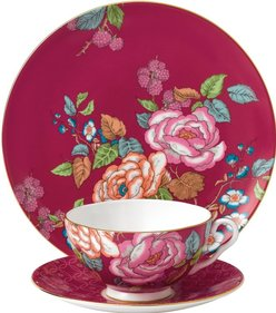 Wedgwood Tea Garden Himbeere 3-teiliges Tee-Set