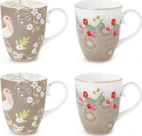 Pip Studio Floral mok 350ml - set van 4