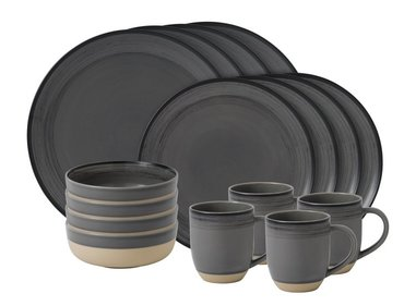 Royal Doulton ED Brushed 16-teiliges Geschirrset grau