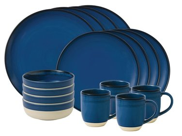Royal Doulton ED Brushed 16-delige serviesset kobalt