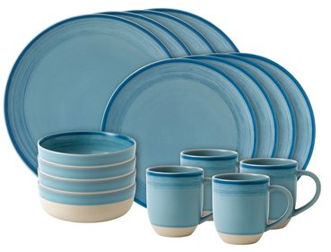 Royal Doulton ED Brushed 16-piece dinnerware set blue