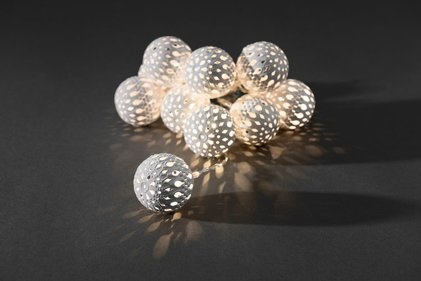 Konstsmide LED Deco string light with 10 metal decorative balls 4 cm