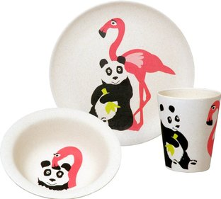 Zuperzozial Hungry Kids Flamingo kinderserviesset