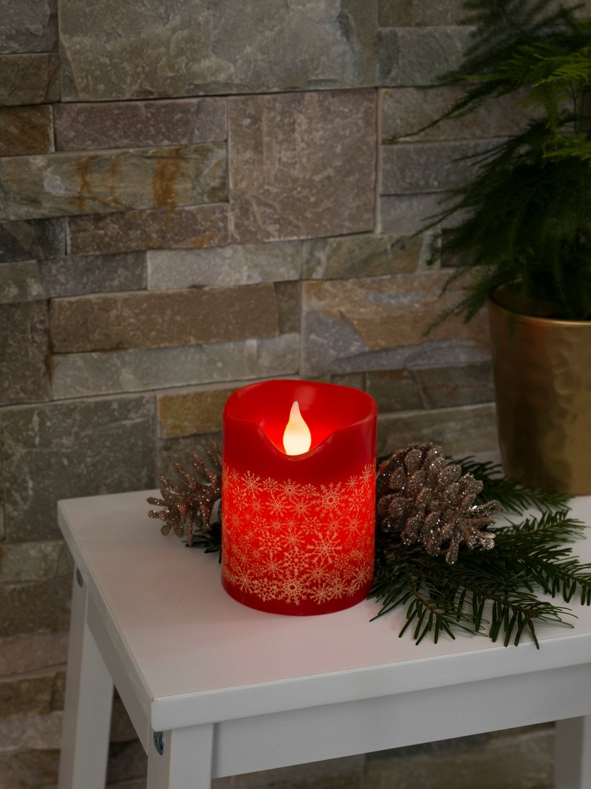 Konstsmide LED wax candle with snow decoration
