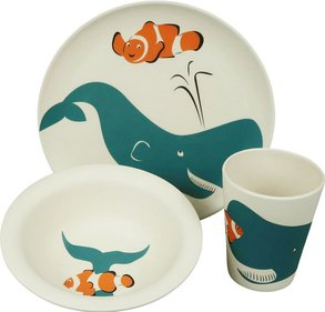 Zuperzozial Hungry Kids Walfisch Kindergeschirr-Set