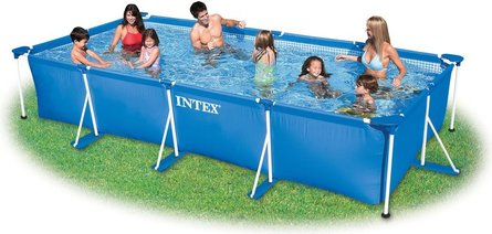 Intex Aufstellpool Frame Pool Set Family, Blau, 450 x 220 x 84 cm