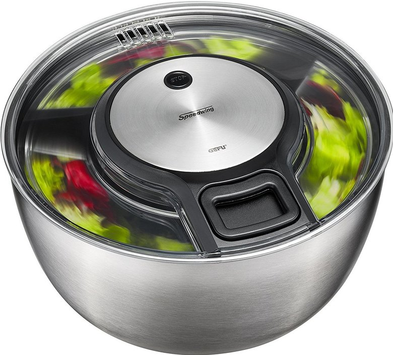 GEFU Speedswing stainless steel salad spinner