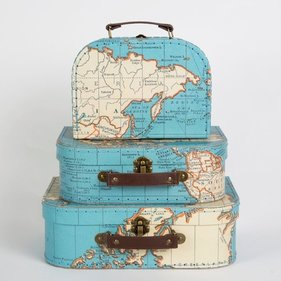Sass & Belle Vintage World Map bagage sæt