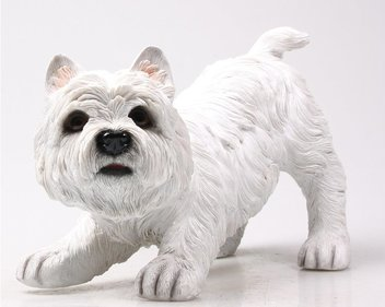 FARMWOOD ANIMALS 33 x 21 x 26 cm Real Life West Highland Terrier Ornament for Home and Garden