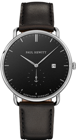 Paul Hewitt The Grand Atlantic Black Sea Black Sea montre en cuir noir