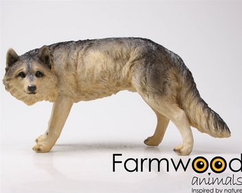 Farmwood Animals Staande Wolf tuinbeeld