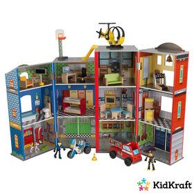 KidKraft Everyday Heroes wooden play set fire station and police station