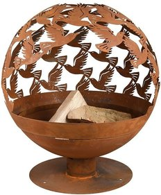 Esschert Design Fallen Fruits Laser cut fire pit birds