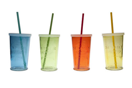 SUMMER PARTY GLAS D9XH14.5CM SET 4 ASSMET DEKSEL EN RIETJE