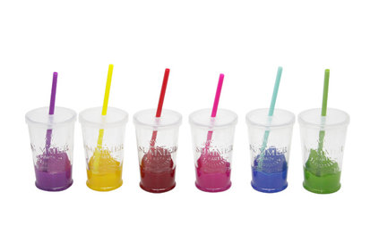 SUMMER PARTY GLAS D7.5XH13CM SET 6 ASSMET DEKSEL EN RIETJE