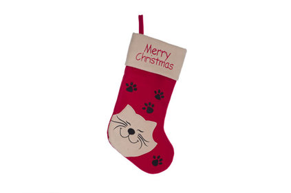 KERSTSOKKEN ROOD WIT TEXTIEL L19 WITH CAT AND MERRY XMAS