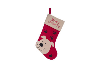 KERSTSOKKEN ROOD WIT TEXTIEL L19 WITH DOG AND MERRY XMAS