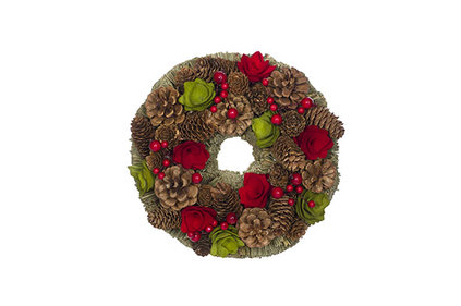 KRANS  ROOD-GROEN ROND HOUT 25X25XH8 PINECONES