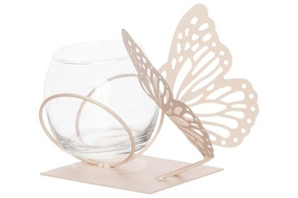 THEELICHTHOUDER BUTTERFLY 1X GLASS CUP D8-H7CM PEACH 13X13XH12CM ROND METAAL