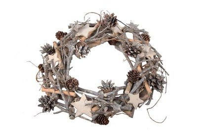 Christmas wreath wood and stars ø 30 cm