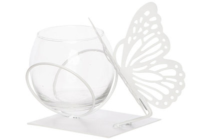 THEELICHTHOUDER BUTTERFLY 1X GLASS CUP D8-H7CM WIT 13X13XH12CM ROND METAAL