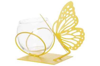 THEELICHTHOUDER BUTTERFLY 1X GLASS CUP D8-H7CM GEEL 13X13XH12CM ROND METAAL