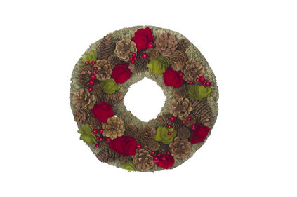 KRANS  ROOD-GROEN ROND HOUT 33X33XH8,5 PINECONES