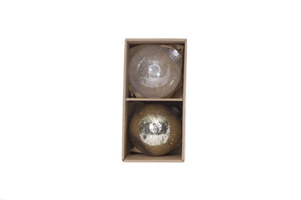 KERSTBAL SET2 CHAMPAGNE KUNSTSTOF 10X10XH10 2ASS TRANSPARANT CHAMPAIGN GLITTER
